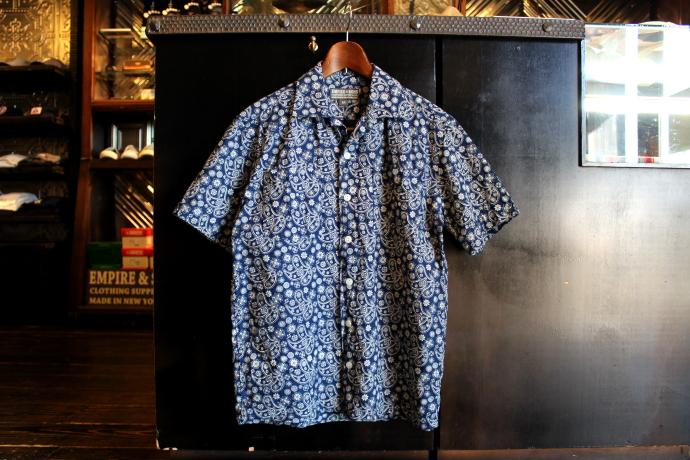 ペイズリー柄 開襟 インディゴ染め キャンプシャツ empire&sons エンパイア シャツ 半袖シャツ 柄シャツ 爽やか おしゃれ ネイビー 青