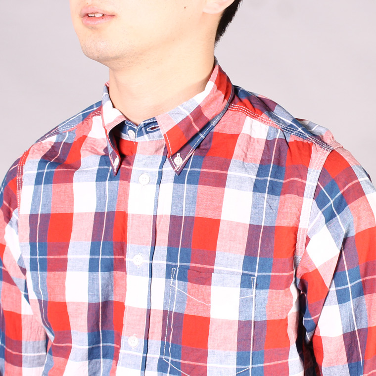 R&VINTAGE (アールアンドヴィンテージ)  L/S TRIPLE NEEDLE B/D SHIRT INDIGO CHECK BROAD CLOTH