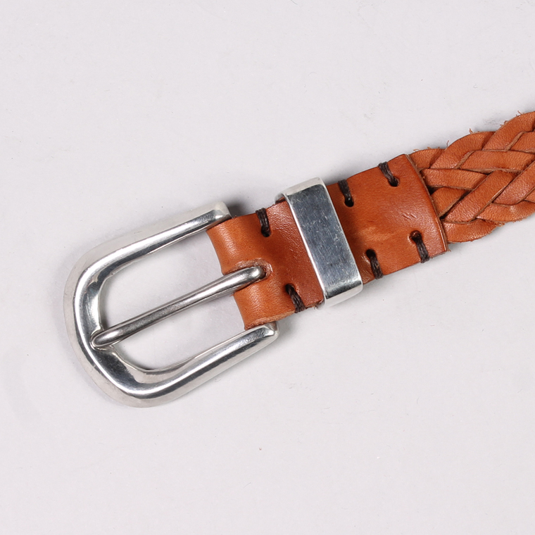 HALCYON BELT COMPANY (ハルシオンベルトカンパニー)  PLAIT WITH METAL FITING BELT ANTIQUE PEWTER BUCKLE / DK TAN