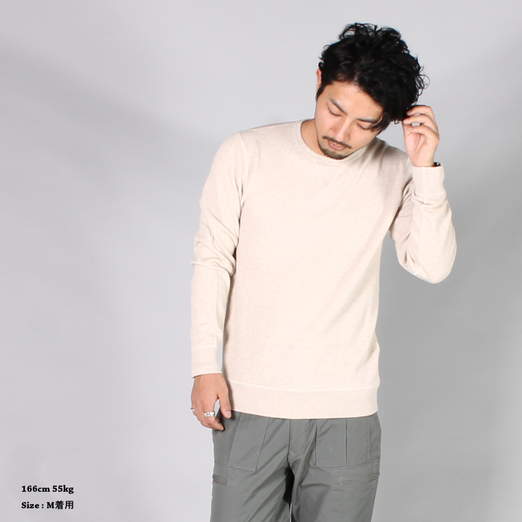FELCO (フェルコ)  V GUSSET CREW NECK HONEYCOMB THERMAL / OATMEAL