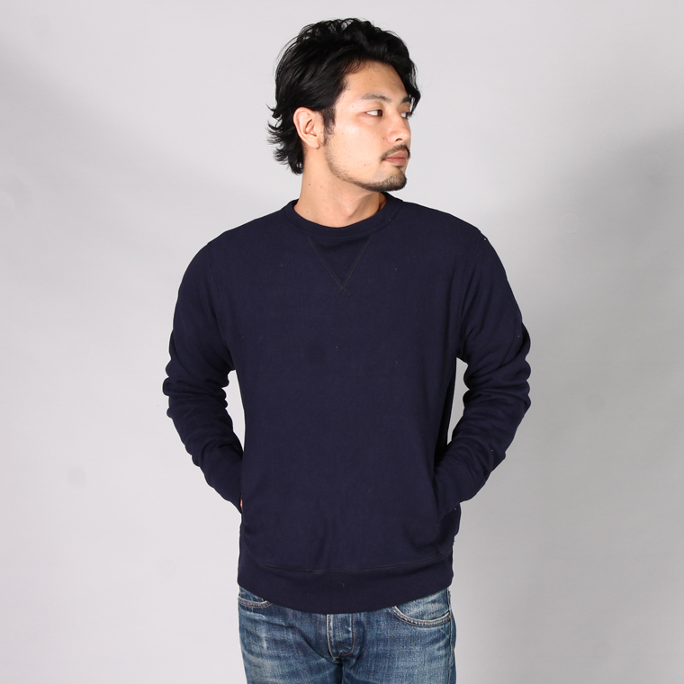 FELCO (フェルコ)  INVERSE WEAVE V GUSSET CREW NECK SWEAT HEAVY WEIGHT TERRY / ITALIAN NAVY
