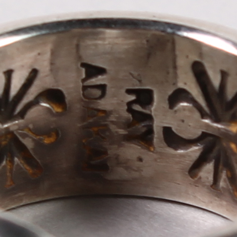 INDIAN JEWELRY (インディアンジュエリー)  DBL STAMP RING OE / RAY ADAKAI  [11号]