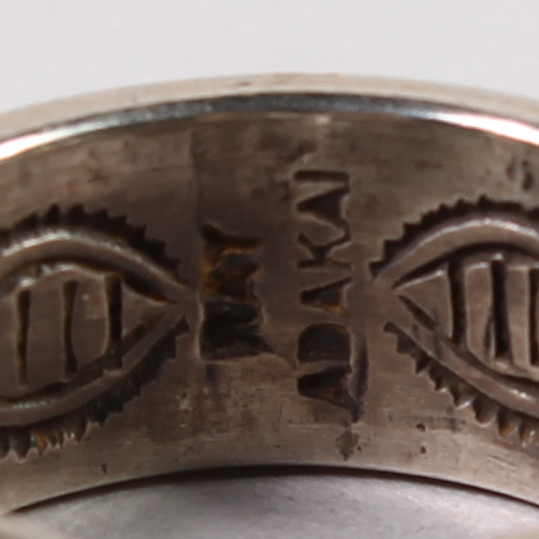 INDIAN JEWELRY (インディアンジュエリー)  DBL STAMP RING OE / RAY ADAKAI  [18号]