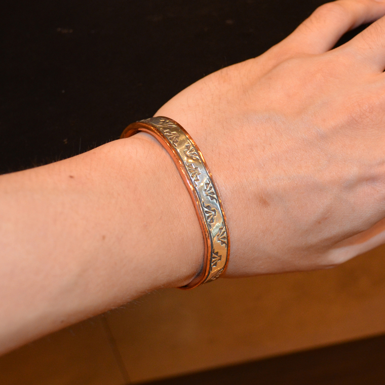 INDIAN JEWELRY (インディアンジュエリー)  SS COPPER BRAC 1/2 / WILEY SECATERO