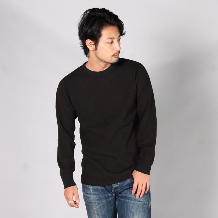 FIL MELANGE フィルメランジェ,DREW2 ドリュー2 サーマルカットソー ロンT 長袖Tシャツ チャコールブラック 日本製 国産 メンズファッション,通販 通信販売