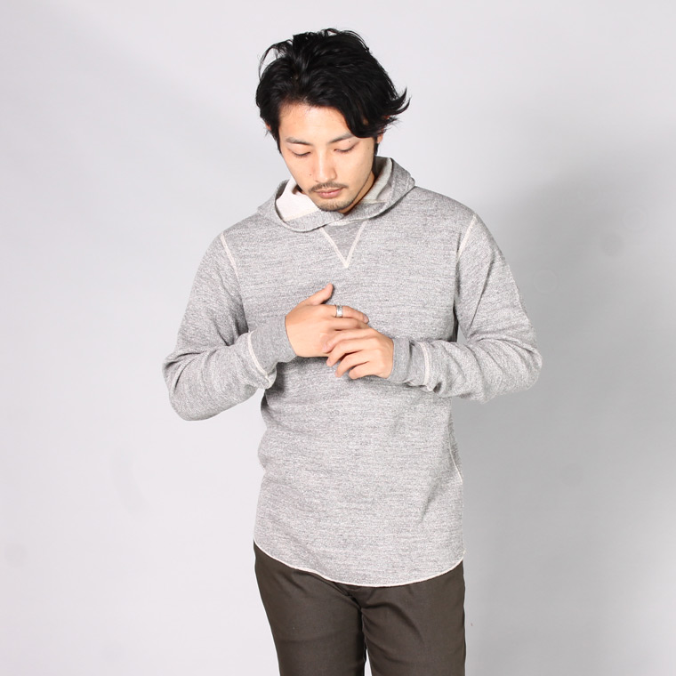 FIL MELANGE フィルメランジェ,DANNY ダニー サーマル プルーオーバー パーカー グレー 日本製 国産 メンズファッション,通販 通信販売