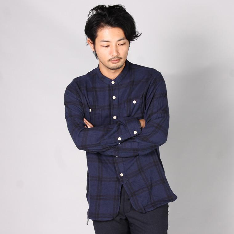 EMPIRE & SONS エンパイアアンドサンズ,バンドカラーシャツ スタンドカラーシャツ ヘリンボーンチェック 日本製 国産 メンズファッション,通販 通信販売