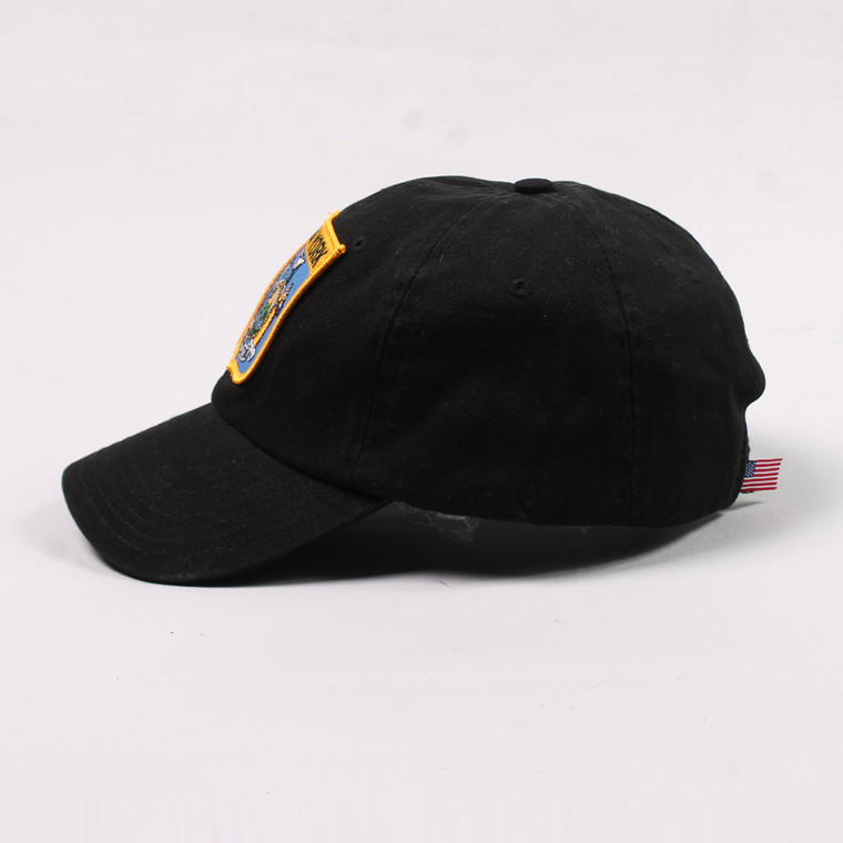 BAYSIDE (ベイサイド)  UNSTRUCURED WASHED TWILL CAP w/WAPPEN - BLACK / NEW YORK