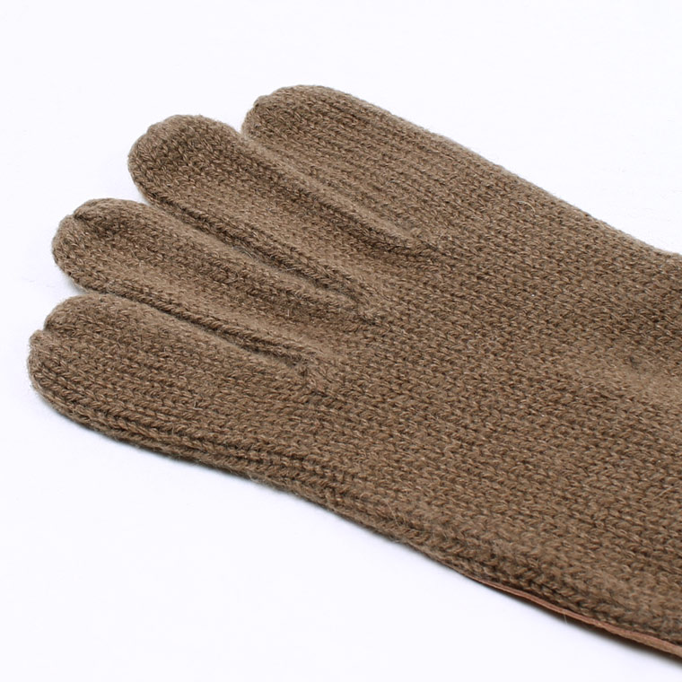 DENTS(デンツ)  CARDIFF - PLAIN KNITTED CASHMERE GLOVE WITH PIGSUEDE PALM PATCH - CAMEL