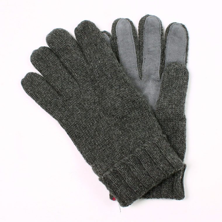 DENTS(デンツ)  CARDIFF - PLAIN KNITTED CASHMERE GLOVE WITH PIGSUEDE PALM PATCH - CHARCOAL
