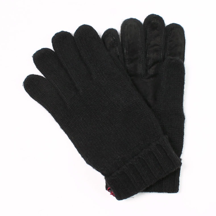 DENTS(デンツ)  CARDIFF - PLAIN KNITTED CASHMERE GLOVE WITH PIGSUEDE PALM PATCH - BLACK