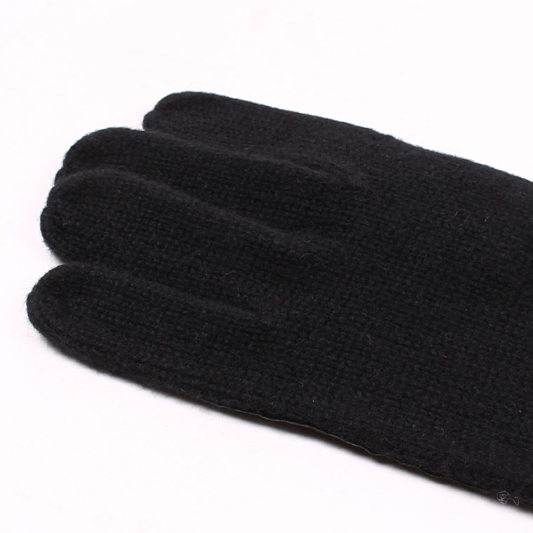 DENTS(デンツ)  STIRLING - UNLINED KNITTED LAMBSWOOL GLOVE WITH PIG LEATHER PALM PATCH - BLACK