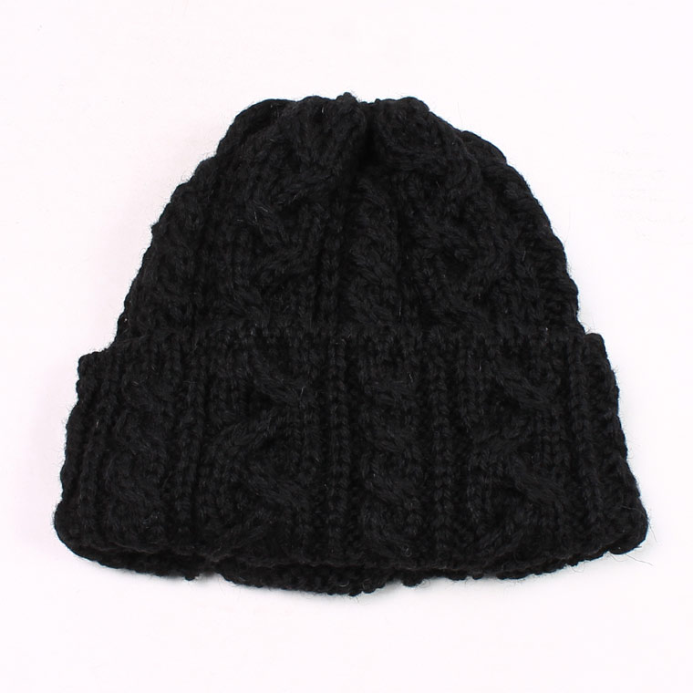 HIGHLAND 2000 (ハイランド2000)  AW16 CABLE BOB CAP BRITISH WOOL SHORT LENGTH - BLACK