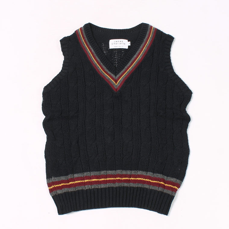 JAMES CHARLOTTE (ジェームス シャルロット) CRICKET CABLE VEE SLIPOVER SWEATER COTTON - RICH NAVY + SLATE_PORT_MARIGOLD