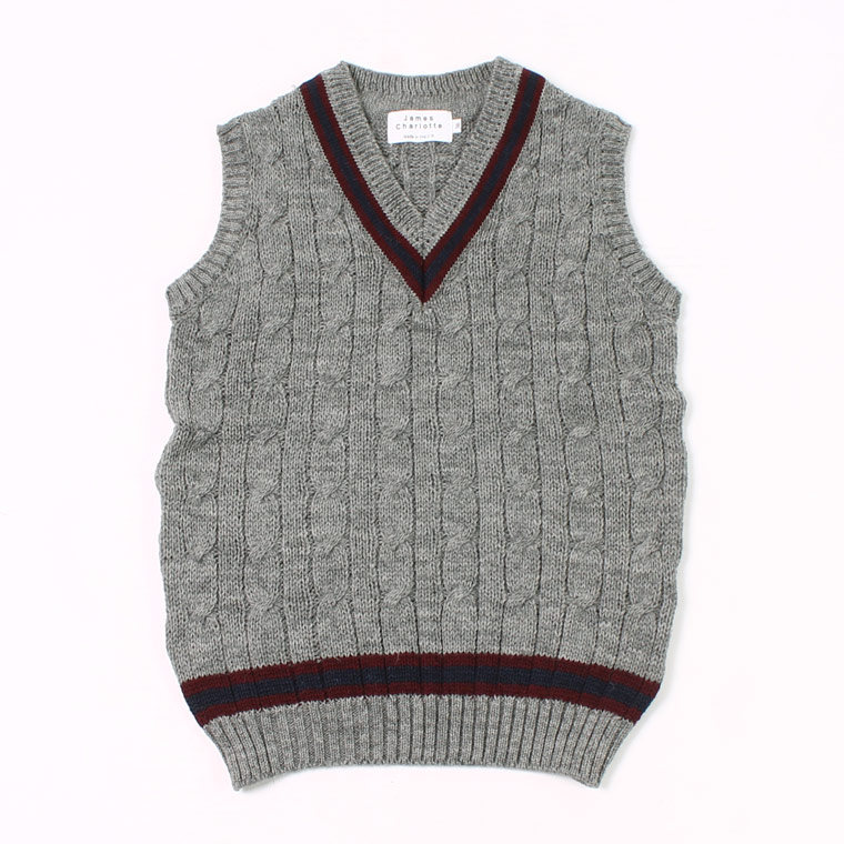 JAMES CHARLOTTE (ジェームス シャルロット) CRICKET CABLE VEE SLIPOVER SWEATER - STEEL + BURGUNDY_NAVY_BURGUNDY