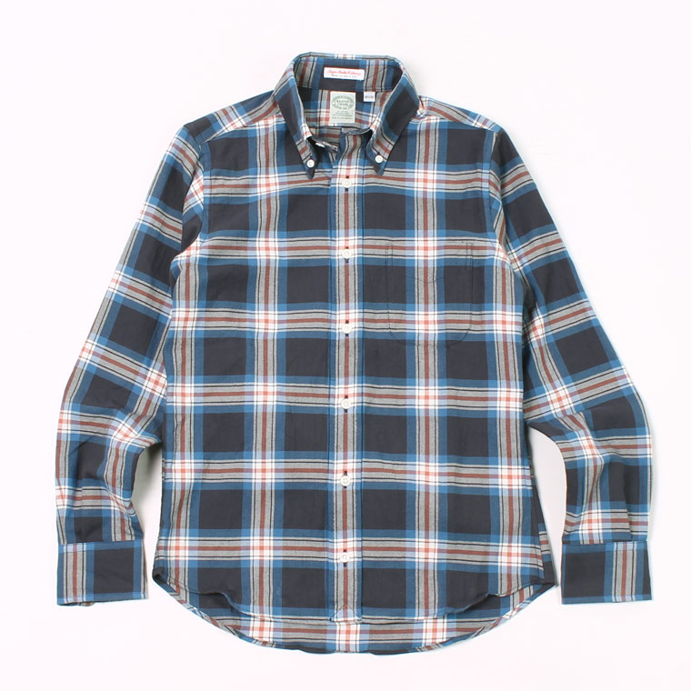 KEATON CHASE USA L/S STANDARD BD JP FABRIC TWILL CHECK SHIRT LIGHT LINING - BLUE