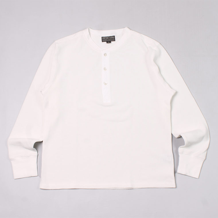 EMPIRE & SONS (エンパイア アンド サンズ) L/S HENLEY NECK-T HALF CARDIGAN STITCH - OFF WHITE_WHITE