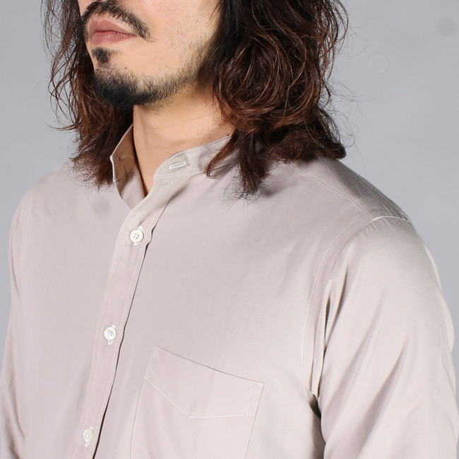 KEATON CHASE USA (キートンチェイスUSA)  L/S BAND COLLAR POPLIN SHIRT w/LIGHT LINING COLLAR / TAUPE