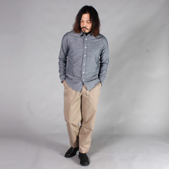 KEATON CHASE USA (キートンチェイスUSA)  L/S REGULAR COLLAR CHAMBRAY SHIRT w/LIGHT LINING COLLAR