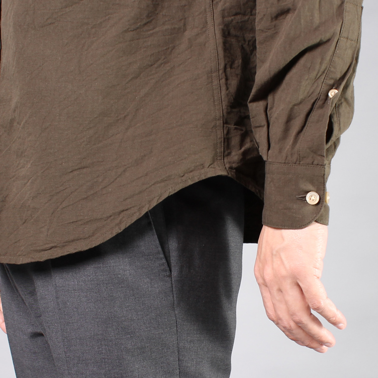 EXPLORER (エクスプローラー)  L/S SELVAGE SLUB COTTON REGULAR COLLAR SHIRT / OLIVE