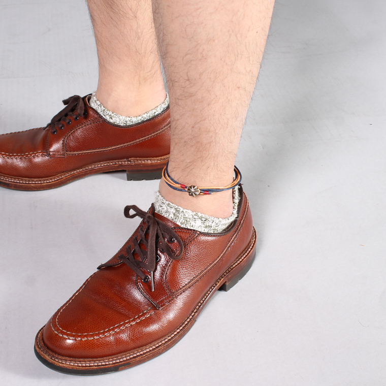 BUTTON WORKS (ボタンワークス)  CONCHO LEATHER ANKLET - 24BRASS / NATURAL BLUE