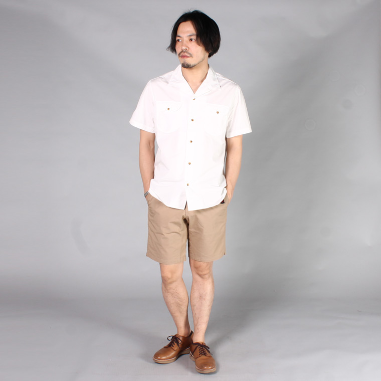 EMPIRE & SONS (エンパイア アンド サンズ)  S/S TROPICAL CAMP SHIRT - SWISS COTTON TYPEWRITER / WHITE