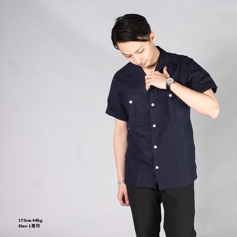 R&VINTAGE (アールアンドヴィンテージ)  S/S BUSH CAMP SHIRT - LINEN CANVAS / NAVY