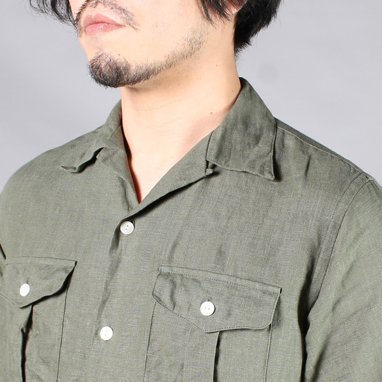 R&VINTAGE (アールアンドヴィンテージ)  S/S BUSH CAMP SHIRT - LINEN CANVAS / OLIVE