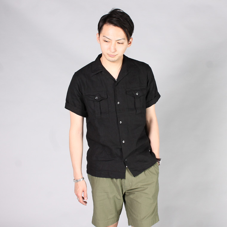 R&VINTAGE (アールアンドヴィンテージ)  S/S BUSH CAMP SHIRT - LINEN CANVAS / BLACK