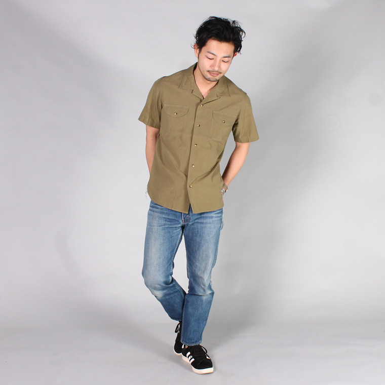 EMPIRE & SONS (エンパイア アンド サンズ)  S/S TROPICAL CAMP SHIRT - SWISS COTTON TYPEWRITER / SAGE GREEN