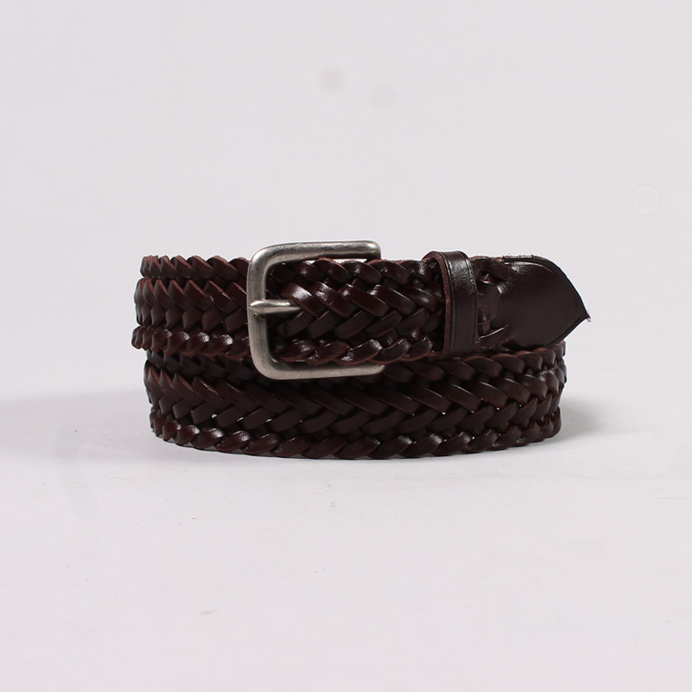 ANGLO (アングロ)  ANGLO(アングロ) 30mm 9PLAIT WEAVE EDGE BRAIDED BELT PEWTER BUCKLE / TESTOMORRO