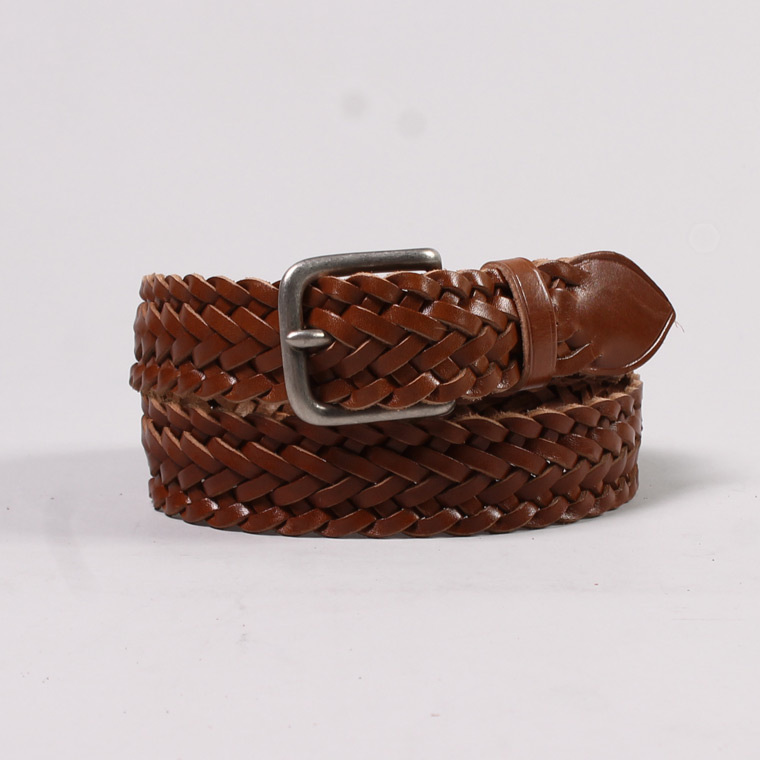 ANGLO (アングロ)  30mm 9PLAIT WEAVE EDGE BRAIDED BELT PEWTER BUCKLE / SAFARI