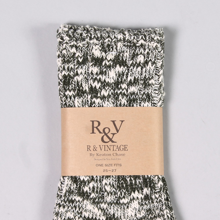 R&VINTAGE (アール アンド ビンテージ)  SLUB NEP TWISTER SOCKS / OLIVE GREEN