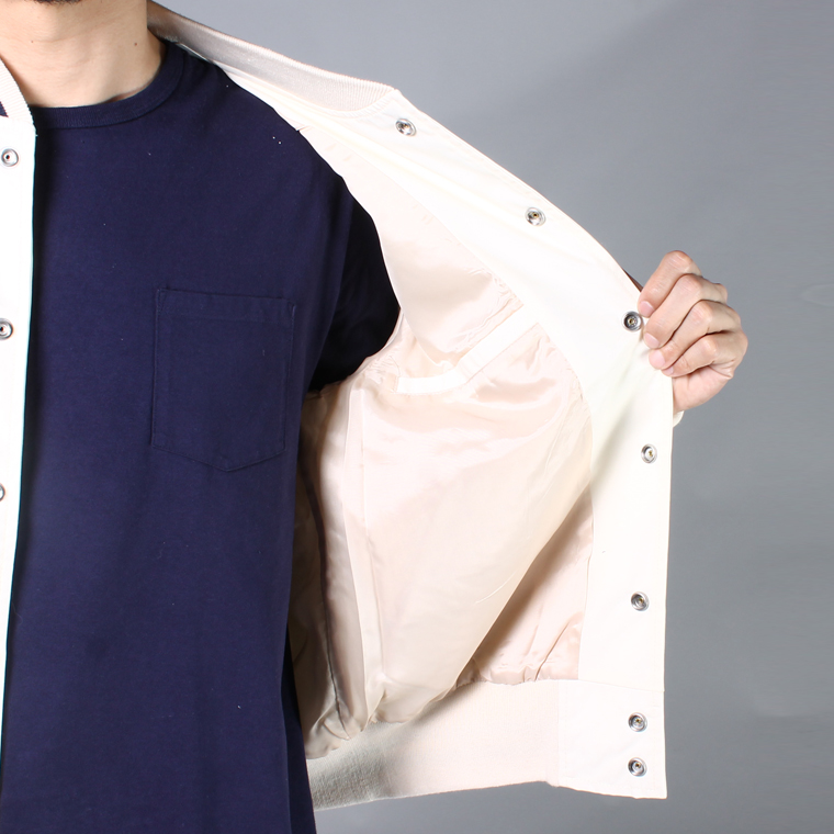 FELCO×GB SPORTS (フェルコ×ジービースポーツ)  SNAP FRONT COTTON VARSITY SLIM FIT JACKET w/VINTAGE WAPPEN / IVORY