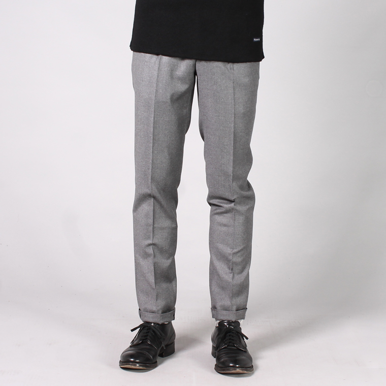 INCOTEX (インコテックス)  ONE PLEATS SUPER 100's WORSTED FLANNEL WOOL TROUSER - GRIGIO MEDIO_911