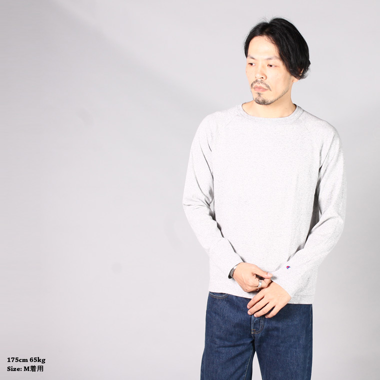 CHAMPION (チャンピオン)  RAGLAN L/S T-SHIRT - OXFORD GREY 070