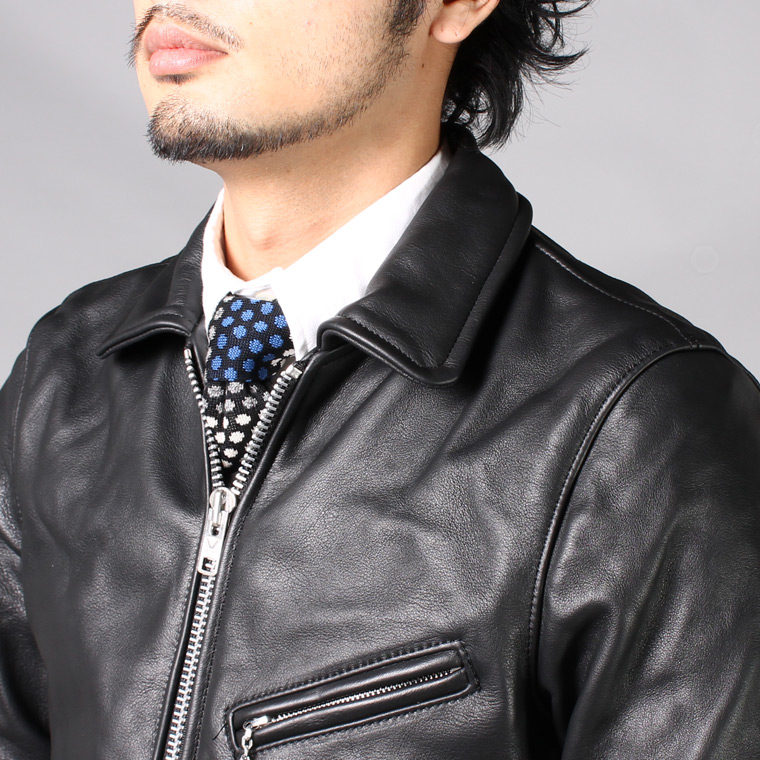 VANSON (バンソン)  ENFIELD-SLIM FITTED SOFT COW LEATHER - BLACK