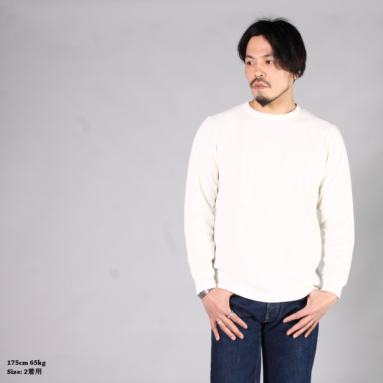 BLURHMS (ブラームス)  ROUGH&SMOOTH THERMAL CREW L/S - WHITE