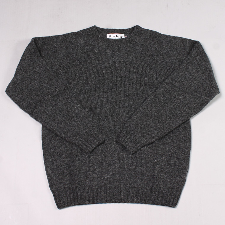 HARLEY OF SCOTLAND (ハーレーオブスコットランド)  PURE NEW WOOL SADDLE SHOULDER CREW NECK SWEATER - OXFORD