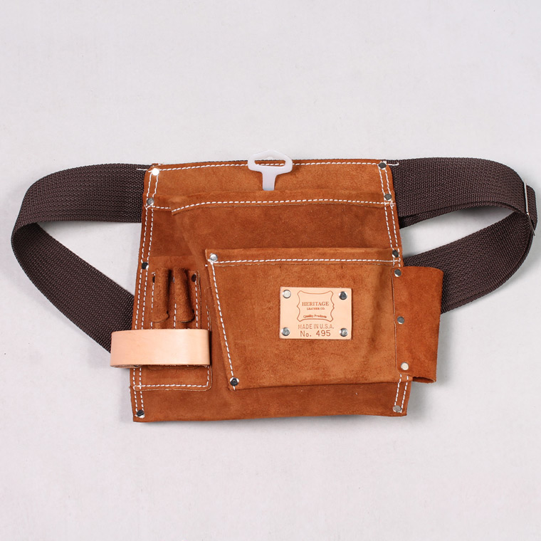 HERITAGE LEATHER (ヘリテイジレザー) 5POCKET SUEDE NAIL AND TOOL POUCH - BROWN SUEDE