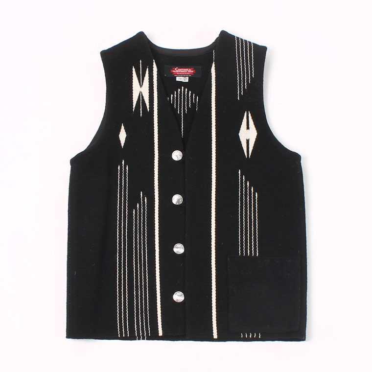 CENTINELA (センチネラ)  FLAT BOTTOM CHIMAYO VEST W/CONCHO - BLACK
