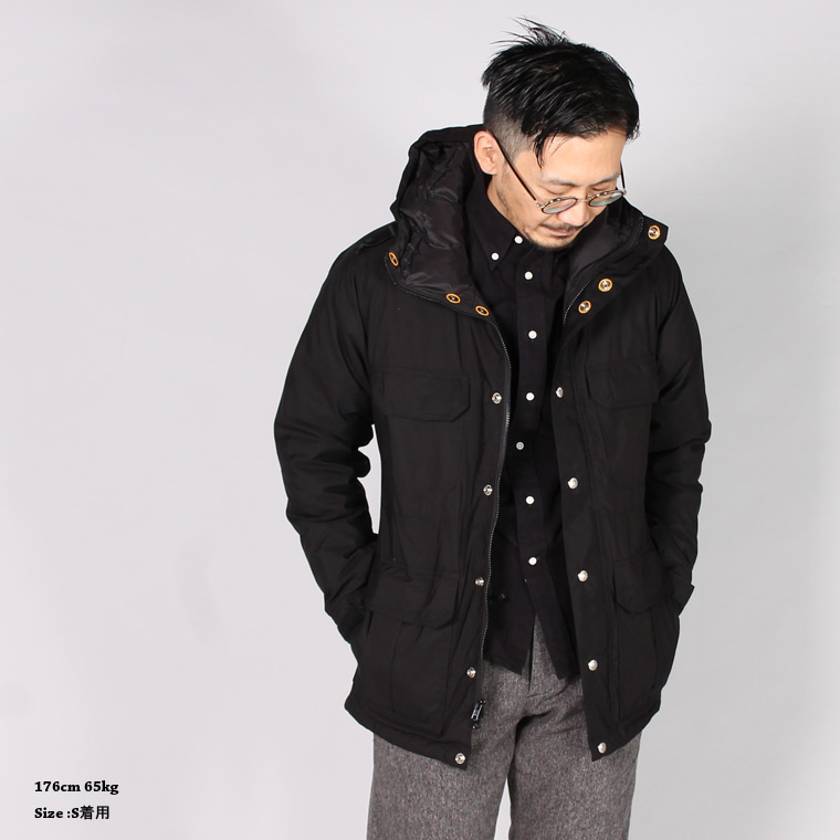CRESCENT DOWN WORKS (クレセントダウンワークス)  DOWN LINED MOUNTAIN PARKA 60/40 STREAK FREE w/ LOGO SNAP - BLACK_BLACK