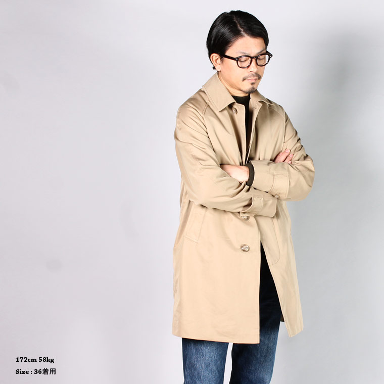 TRAFALGAR SHIELD (トラファルガーシールド)  T-17 RAGLAN SLEEVE BAL COLLAR COAT 60/2 WATER REPELLENT w/DETACHABLE ZIP LINING - TAN
