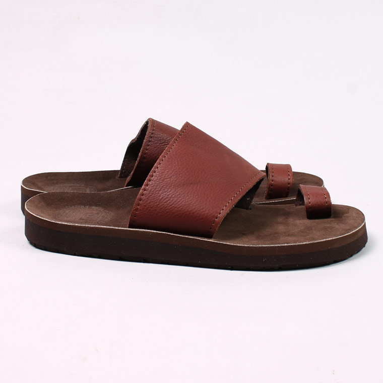 SANDALMAN (サンダルマン)  TOE LOOP SANDAL w/VIBRAM SOLE - COGNAC EXPLORE BROWN SUEDE FOOTBED