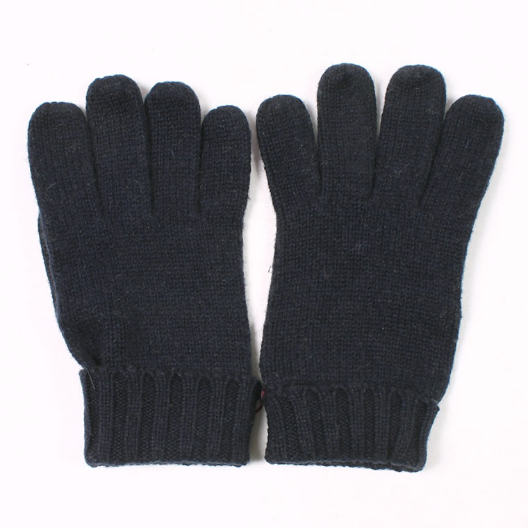 DENTS(デンツ)  CARDIFF - PLAIN KNITTED CASHMERE GLOVE WITH PIGSUEDE PALM PATCH - NAVY