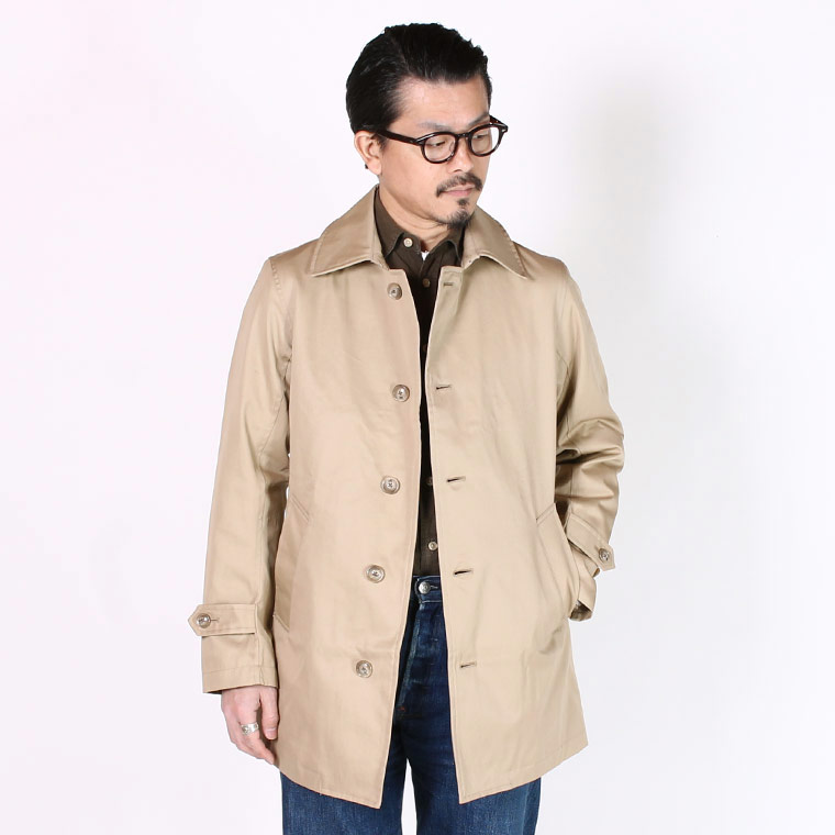 TRAFALGAR SHIELD (トラファルガーシールド)  T-4 SHORT BAL COLLAR W/ROSE TARTAN LINING VENTAILE COTTON 60/2 GABADIN - TAN KHAKI