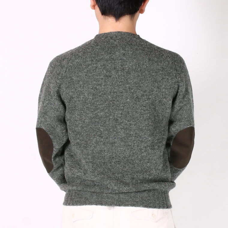 JAMIESON'S (ジャミーソンズ)  SHETLAND PLAIN SADDLE SHOULDER CREW NECK ELBOW SUEDE PATCH - 326_17 BROWN SUEDE