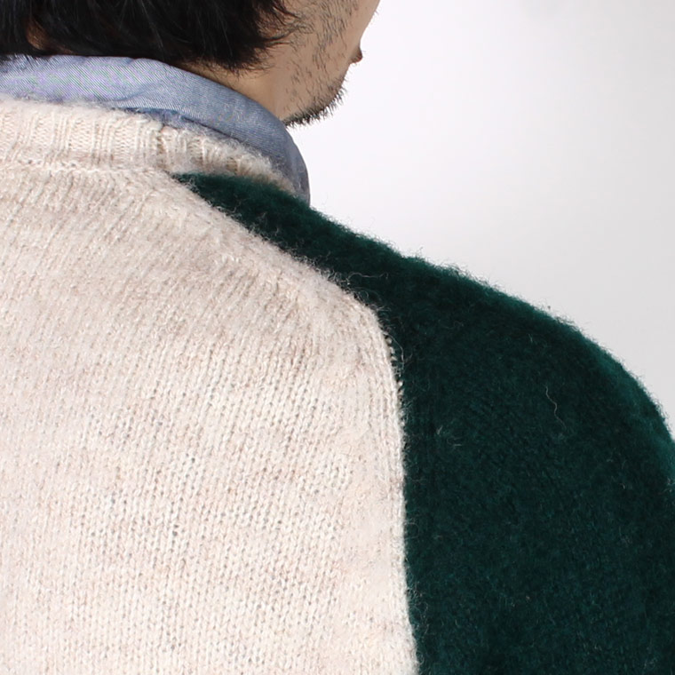 JAMIESON'S (ジャミーソンズ)  PLAIN SADDLE SHOULDER SHETLAND CREW NECK 2TONE - 234 PINE BODY_730 DARK NAVY