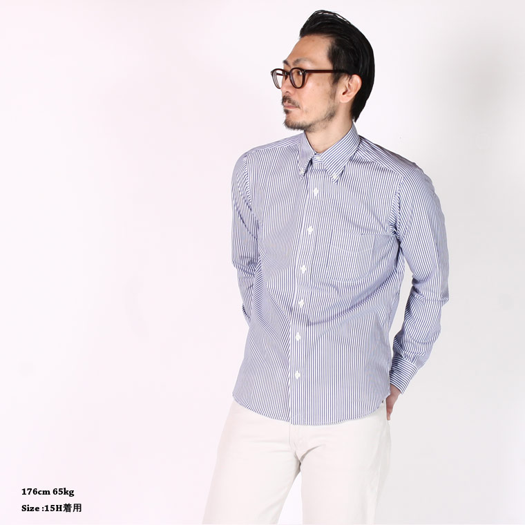 KEATON CHASE USA (キートンチェイスUSA)  L/S STANDARD BD LONDON STRIPE SHIRT LIGHT LINING - WHITE_BLUE