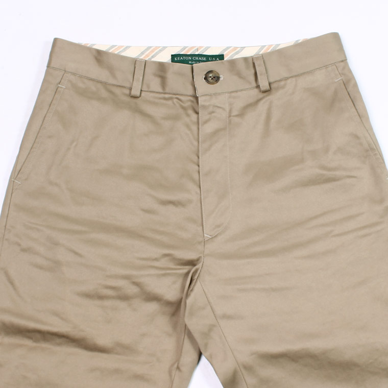 KEATON CHASE USA (キートンチェイスUSA) PLAIN FRONT TROUSER HIGH COUNT WEAPON - KHAKI
